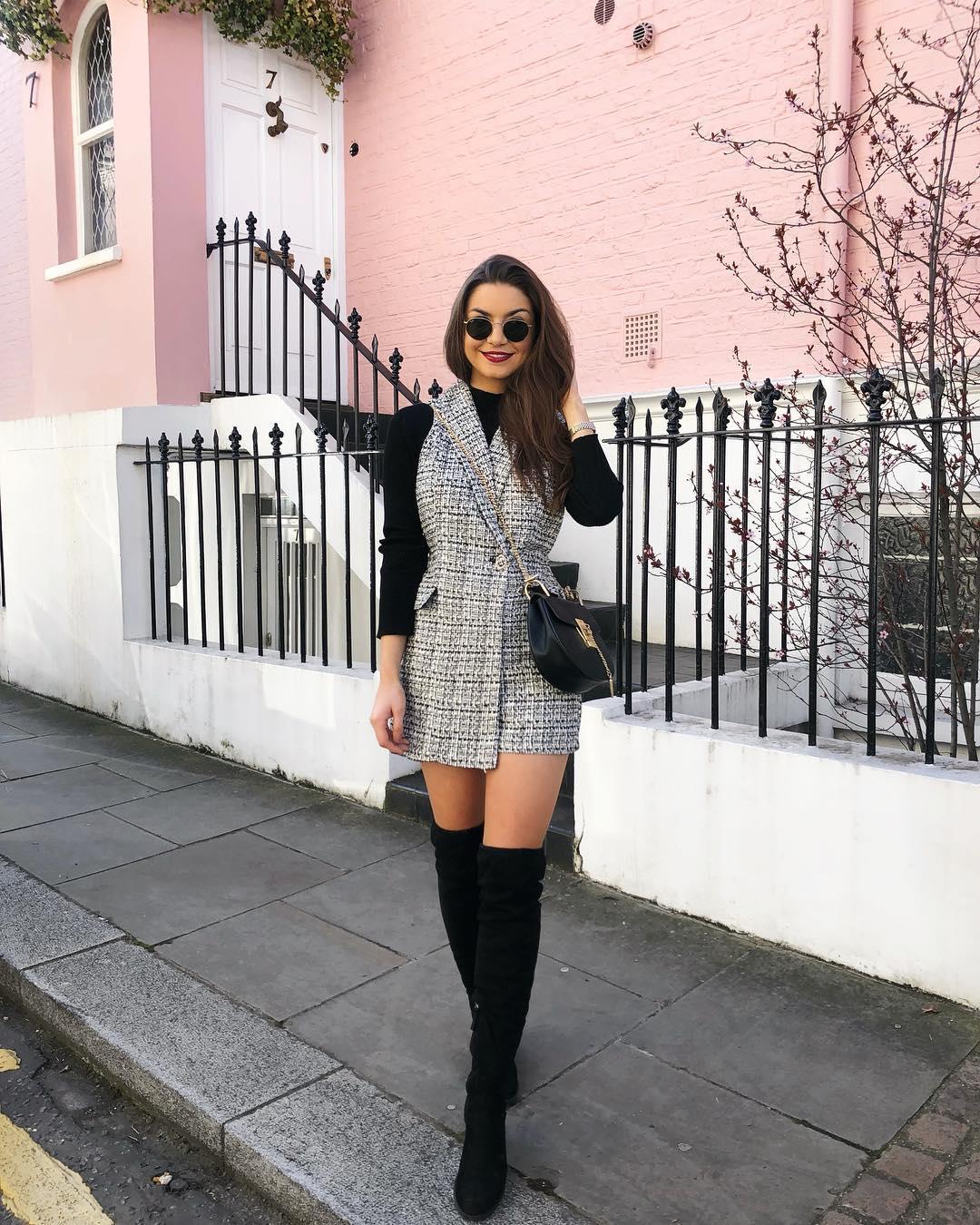 combinaison robe en tweed de Zara sur sophielouisesdiary