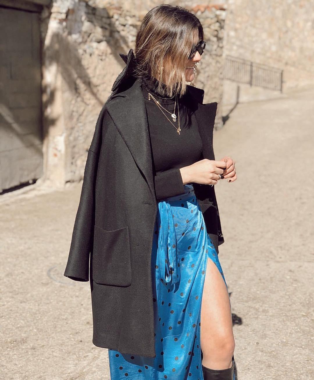 jupe portefeuille à pois de Zara sur zara.outfits