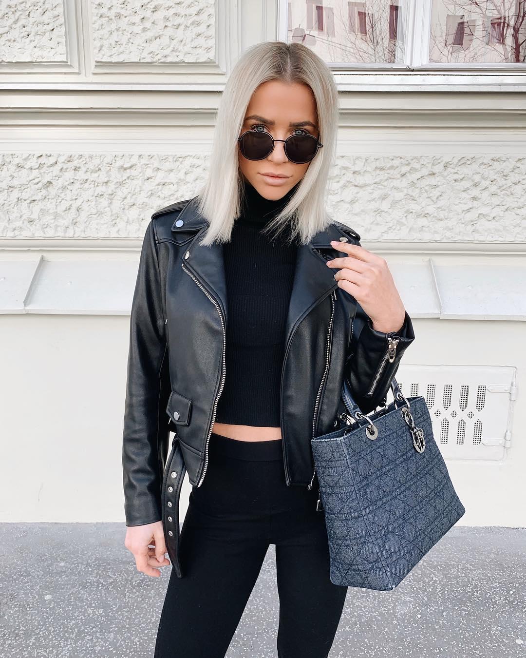 leather biker jacket de Zara sur valentina.steinhart