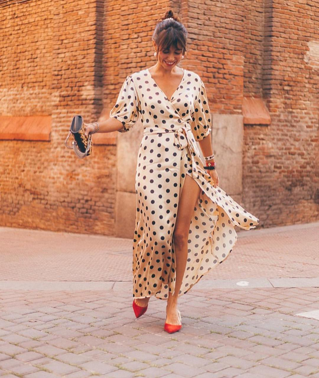 polka dot wrap dress de Zara sur zaraaddiction