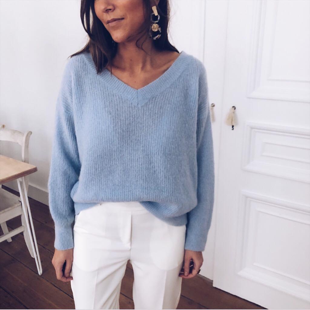 pull bleu clair de Les Bourgeoises sur easyclothesvetements