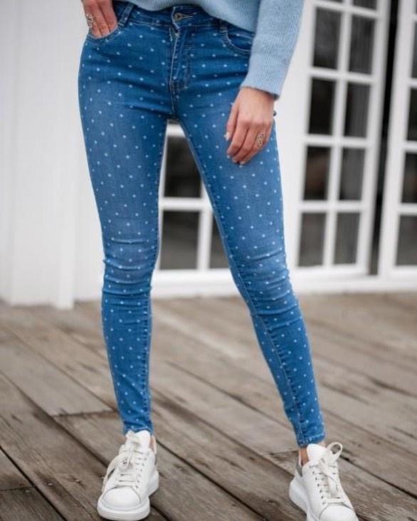 jeans slim a pois de Les Bourgeoises sur scanlesbourgeoises
