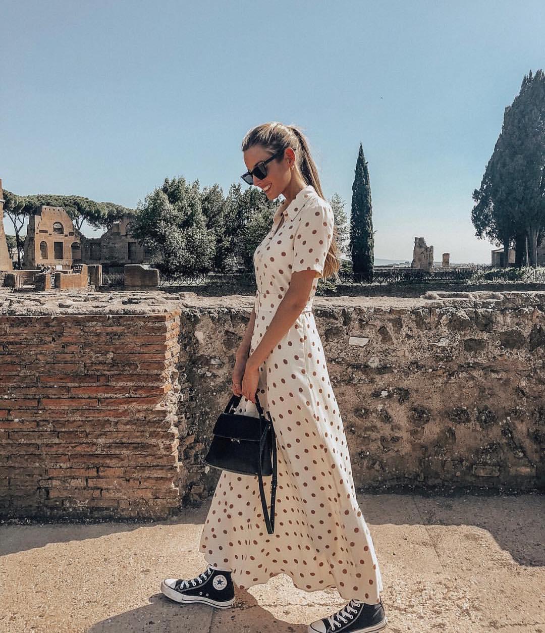 polka dots long dress de Zara sur zaraaddiction
