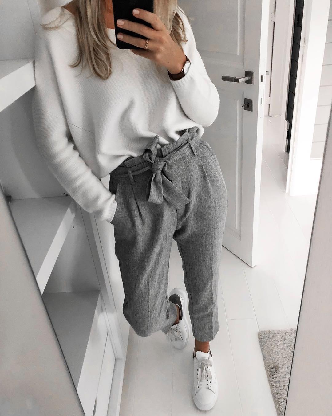 pantalon gris foncé chiné de Les Bourgeoises sur scanlesbourgeoises