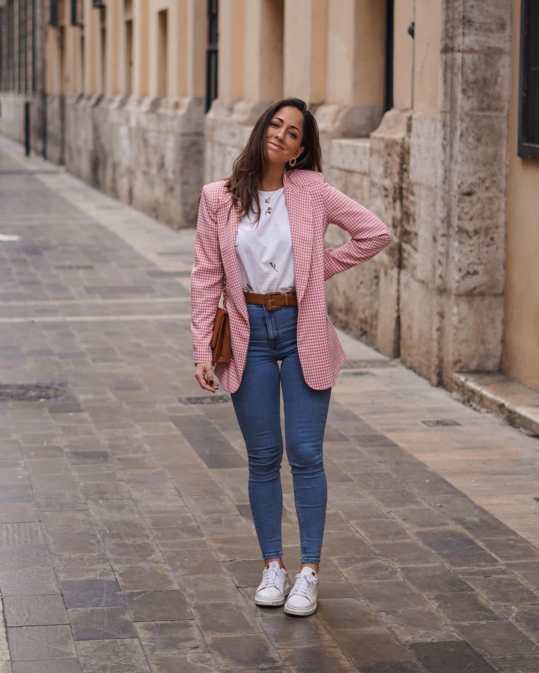gingham plaid jacket de Zara sur criscalatrava