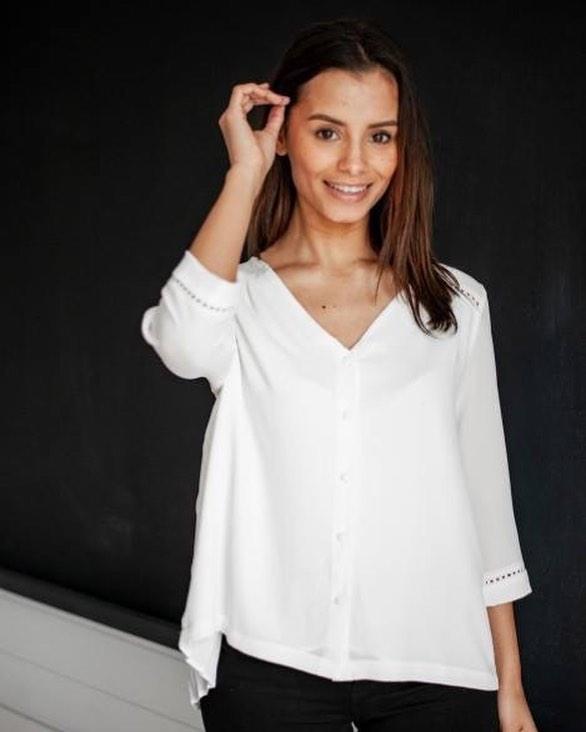blouse écrue plissée de Les Bourgeoises sur scanlesbourgeoises