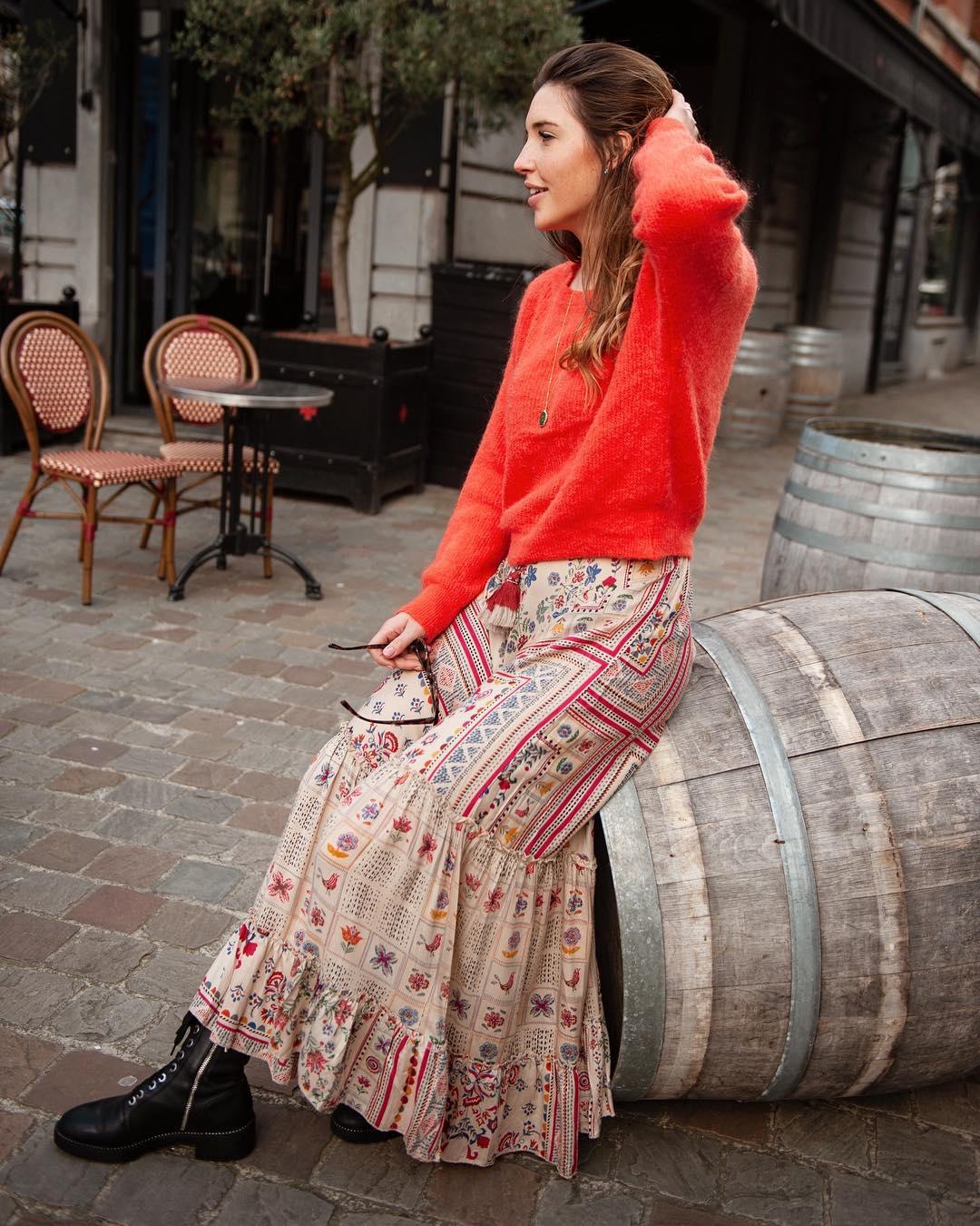 longue jupe beige de Les Bourgeoises sur lesbourgeoisesofficiel