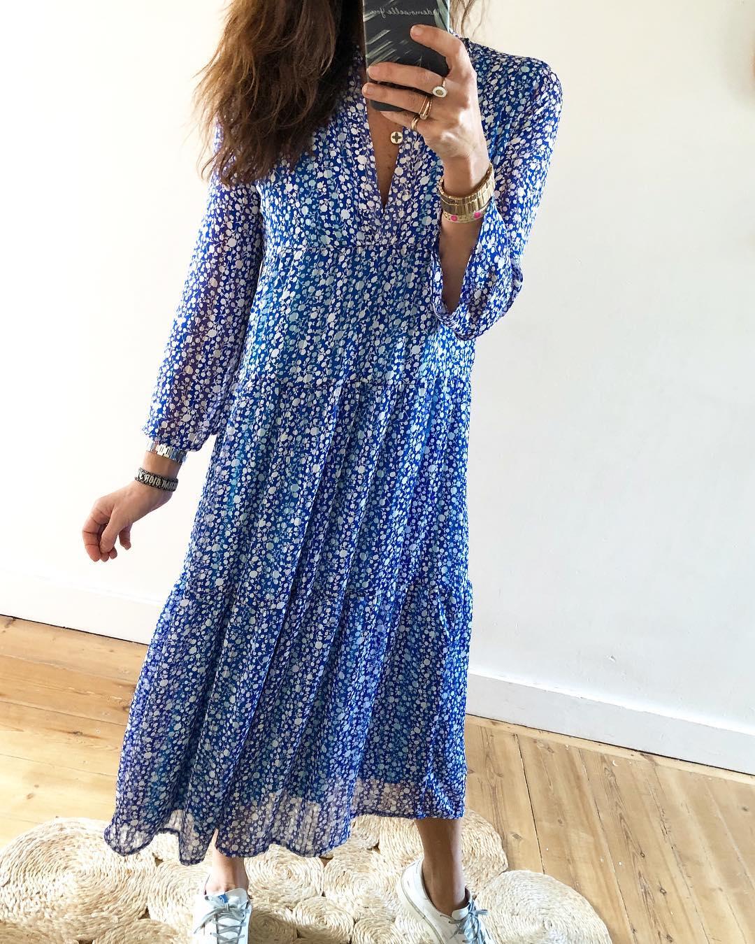 longue robe bleue jenny de Les Bourgeoises sur mademoiselleyoushop