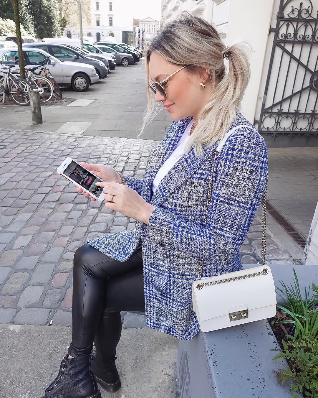 plaid cross breasted jacket de Zara sur iraundbellchen