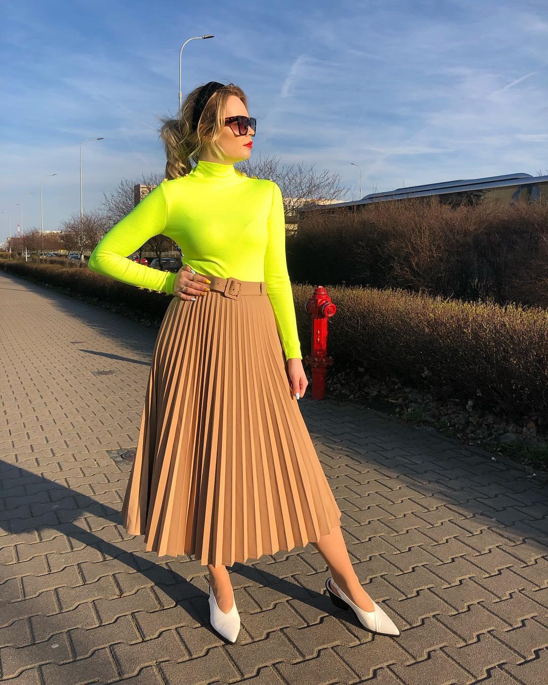 jupe plissée avec ceinture de Zara sur lawirantka