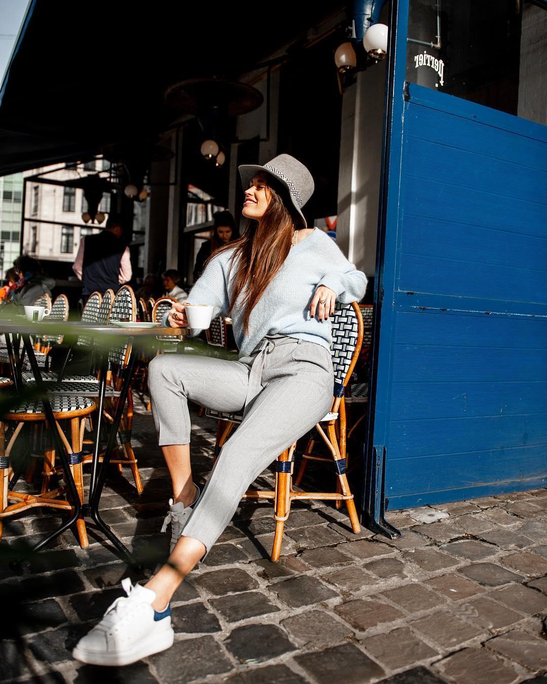 pantalon gris a carreaux de Les Bourgeoises sur lesbourgeoisesofficiel