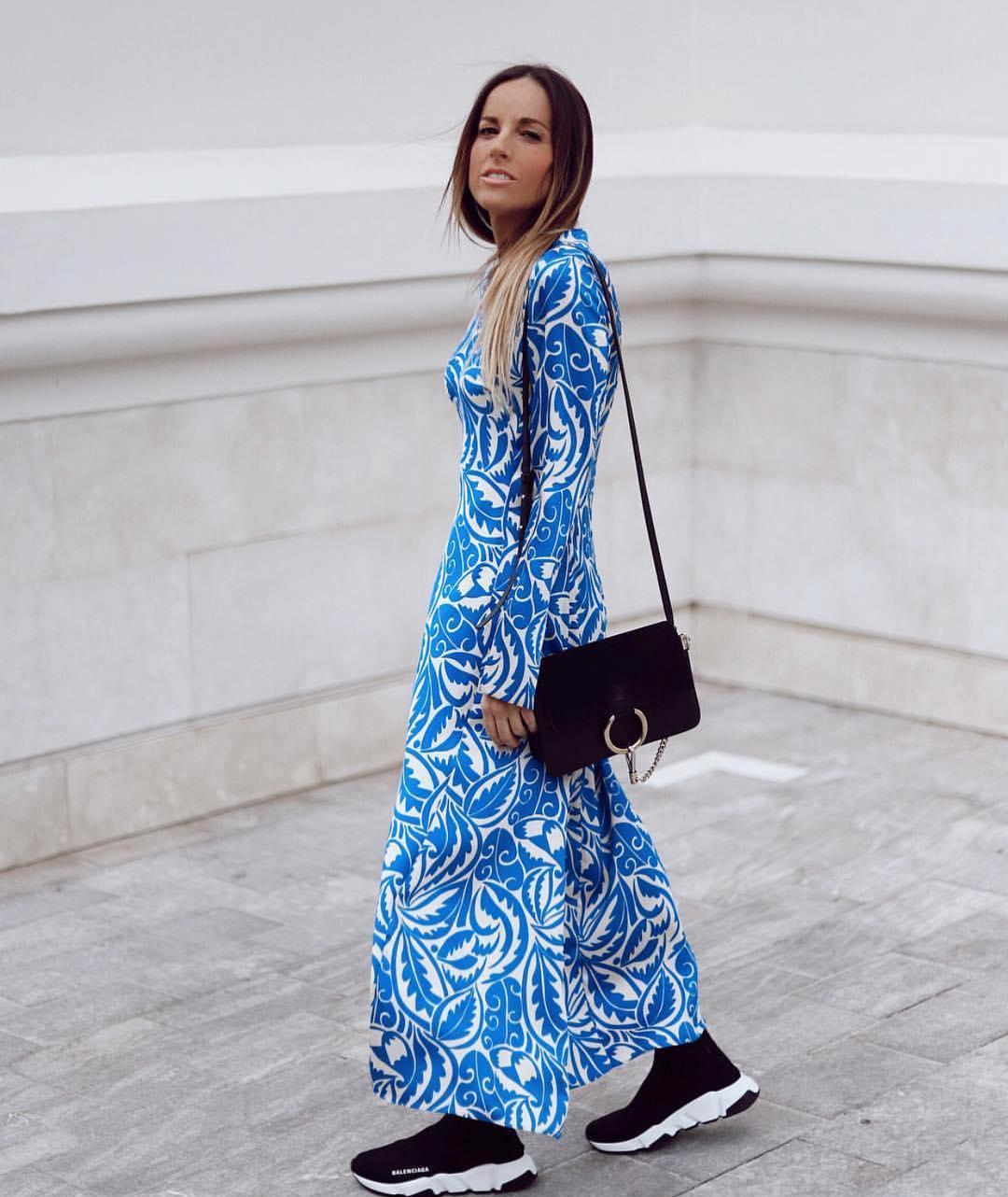 printed long dress de Zara sur zaraaddiction