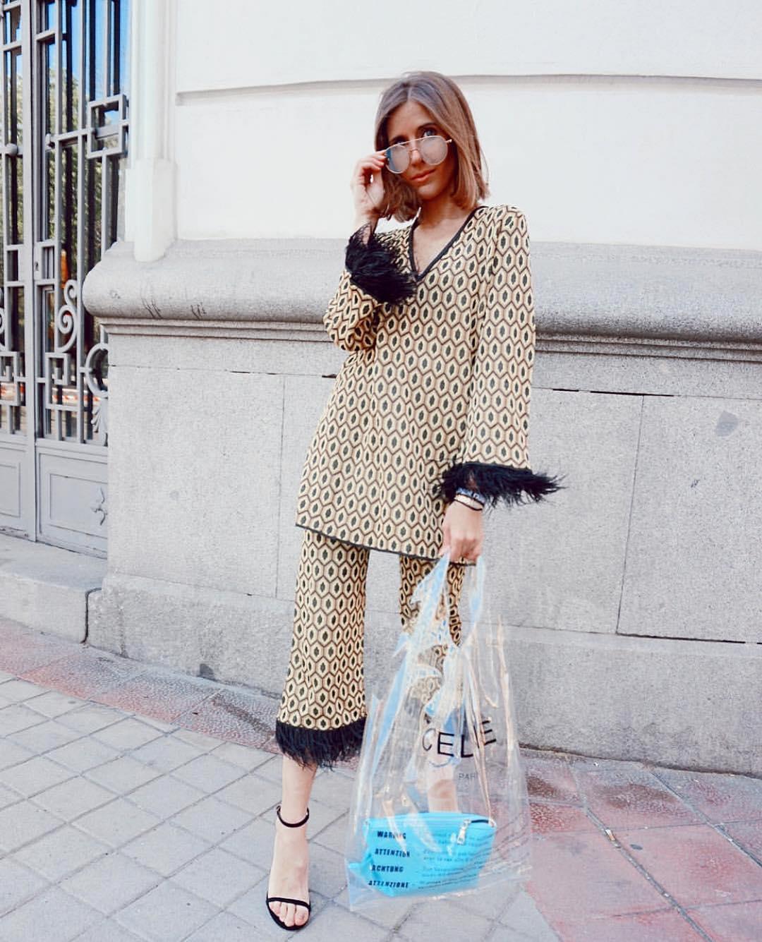 pantalon jacquard à plumes de Zara sur zara.outfits