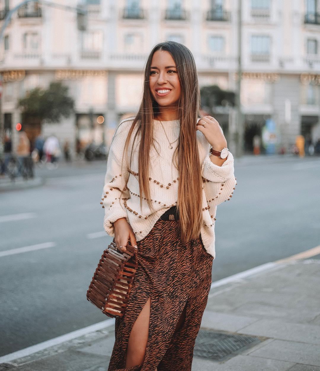 jupe à imprimé animalier avec ceinture de Zara sur lorenagodoy