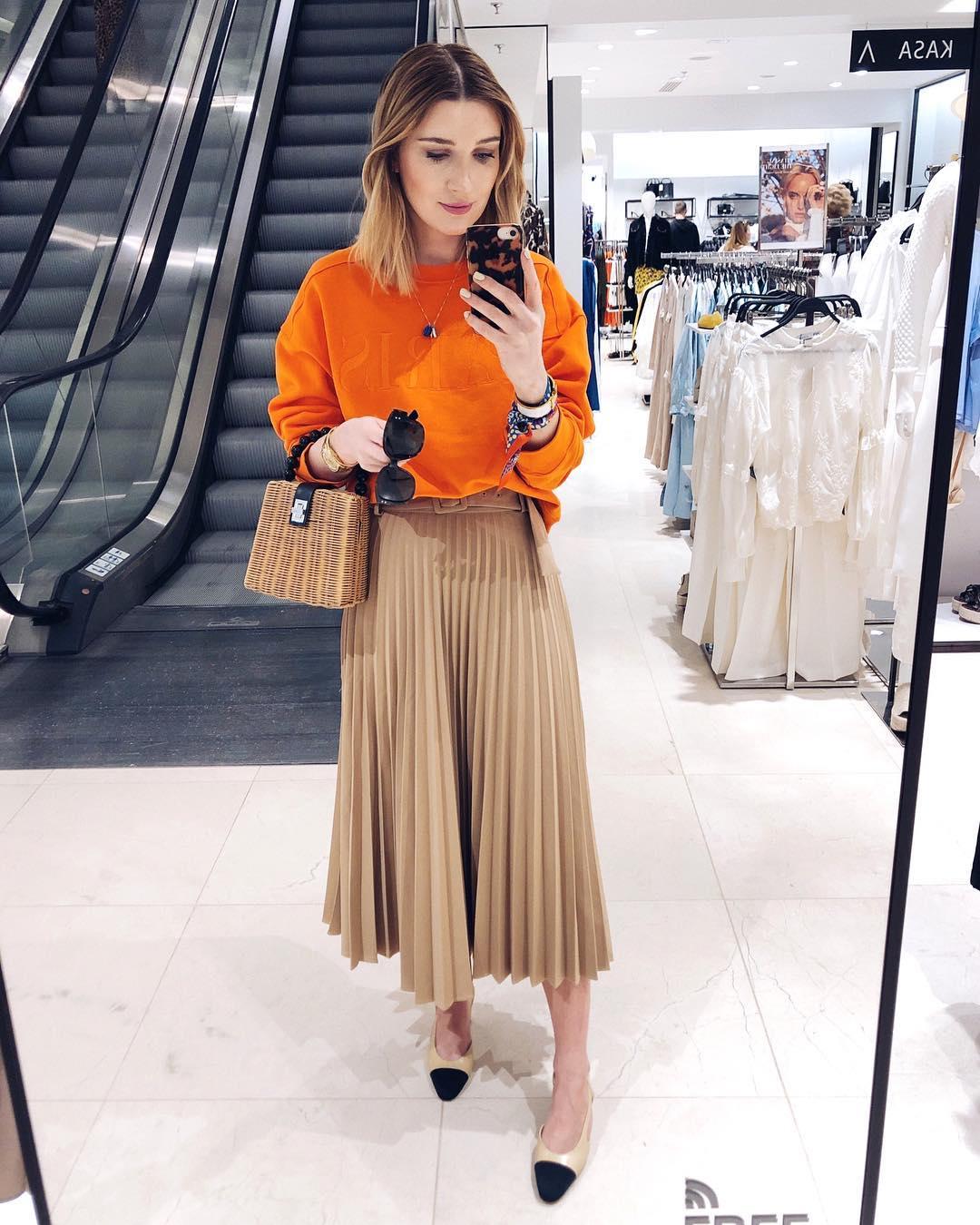 pleated skirt with belt de Zara sur delfinashopping