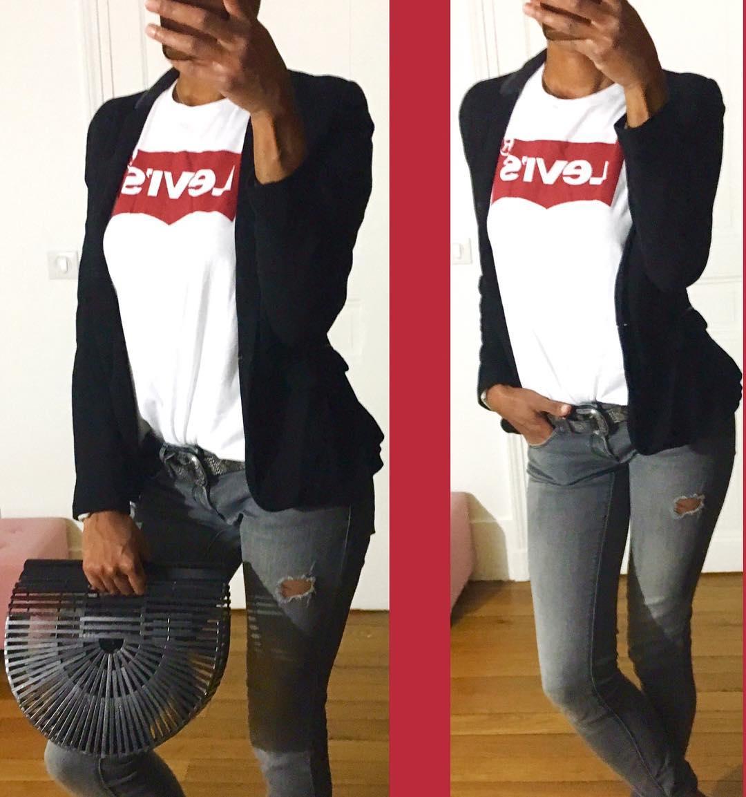 t-shirt levis blanc de Les Bourgeoises sur fashionpiggybank