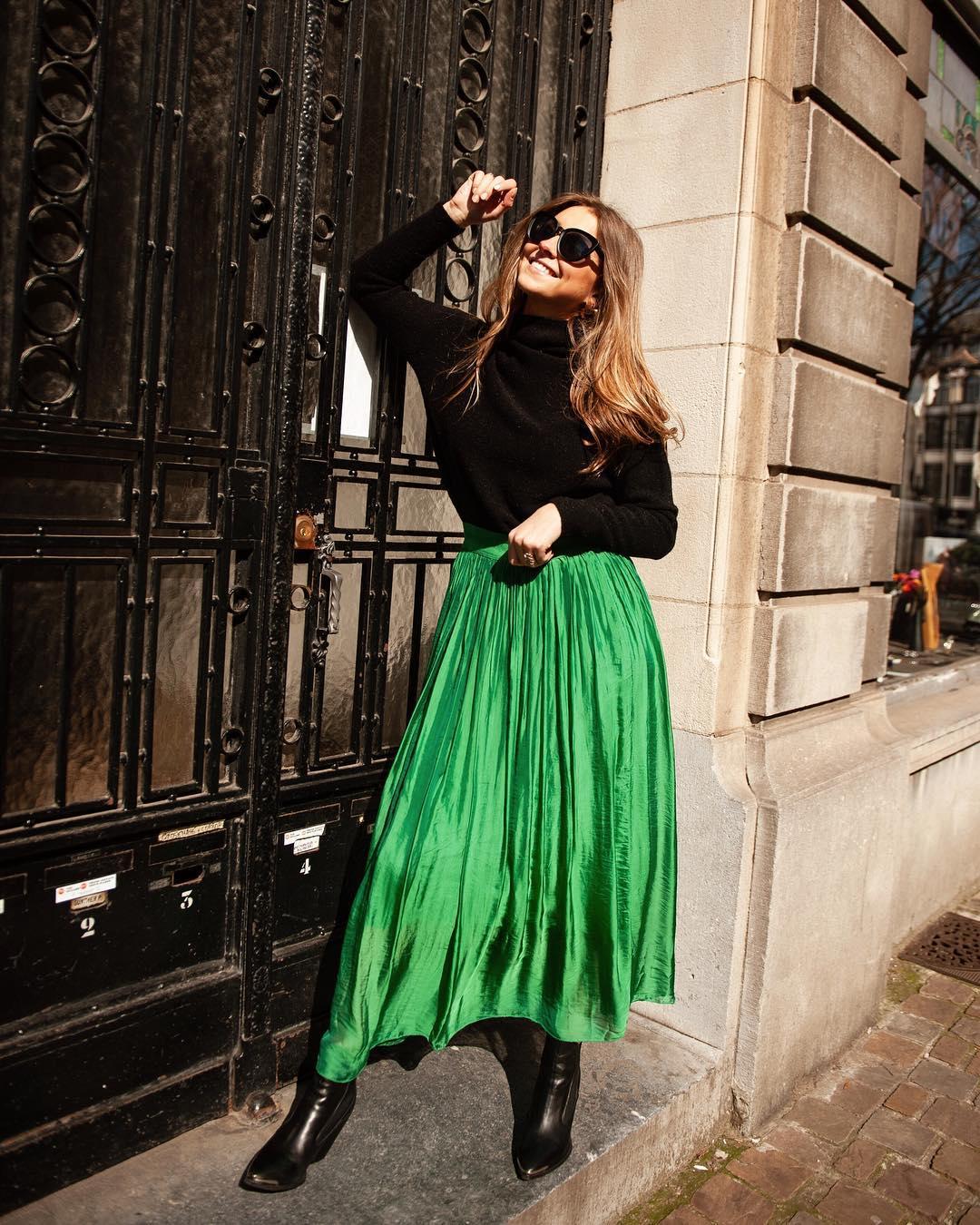 longue jupe verte de Les Bourgeoises sur lesbourgeoisesofficiel