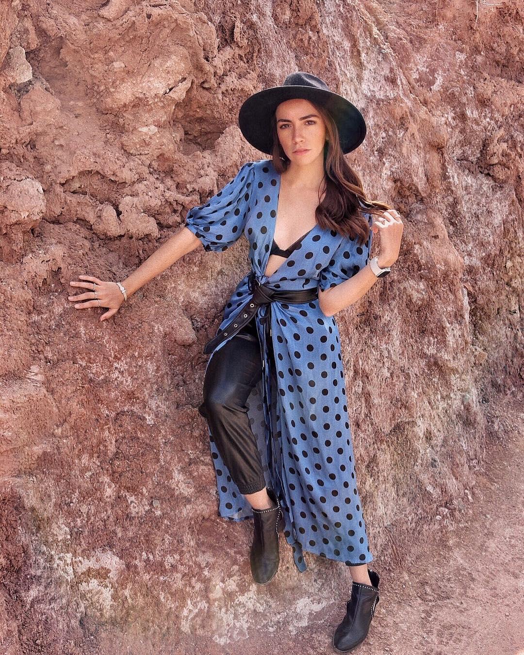 polka dot wrap dress de Zara sur lizmaryfields