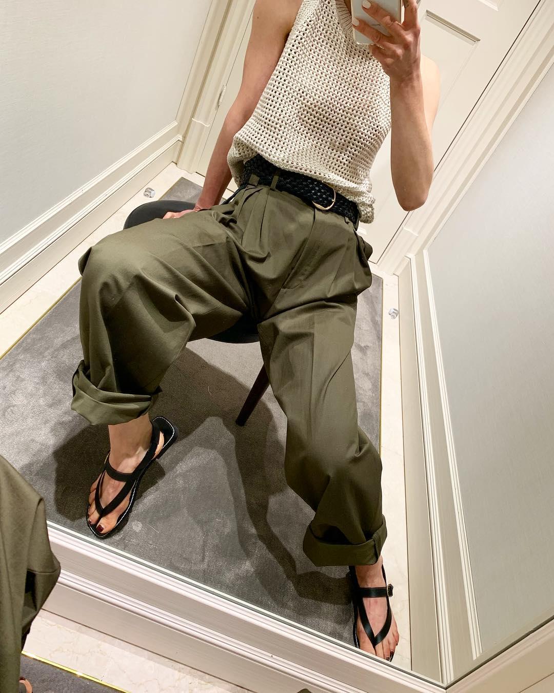 lapel pants linen cotton wide fit limited edition de Massimo Dutti sur annaaborisovna