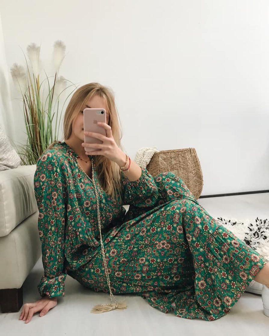robe verte a fleurs de Les Bourgeoises sur scanlesbourgeoises