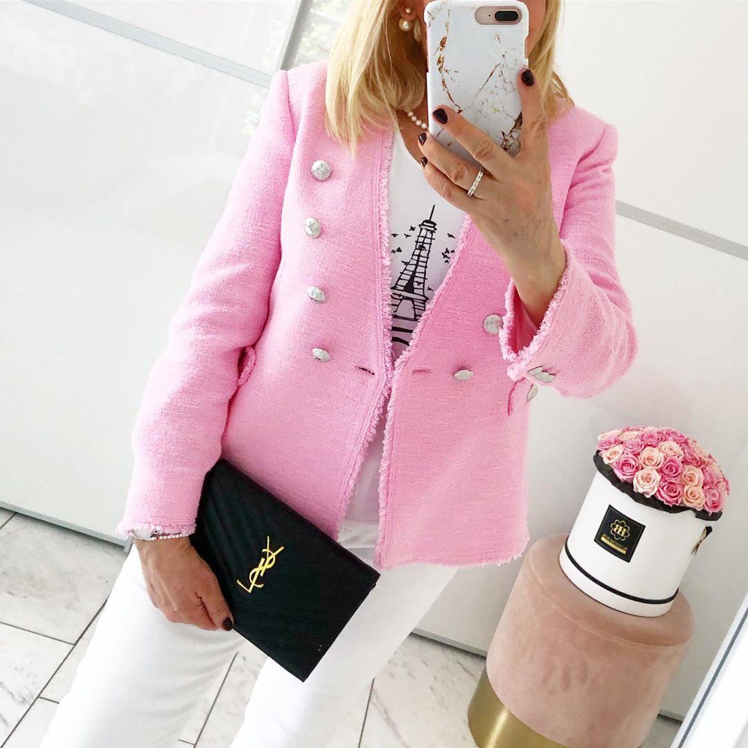 veste en tweed à boutons de Zara sur annainstyle_