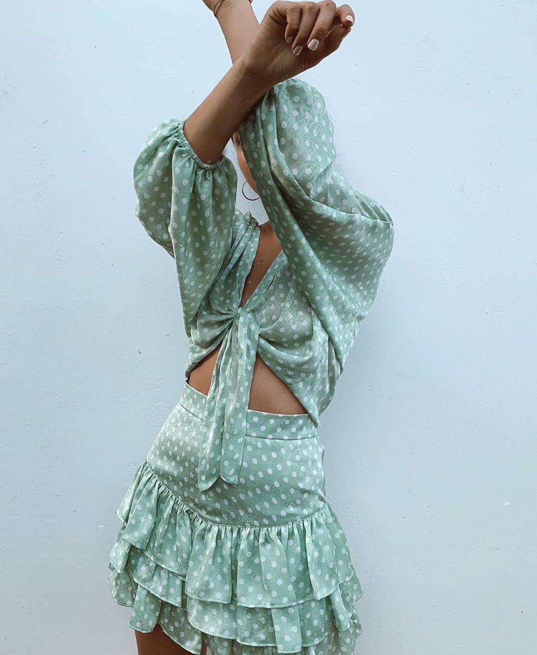 jacquard top with polka dots and bow de Zara sur zaraaddiction
