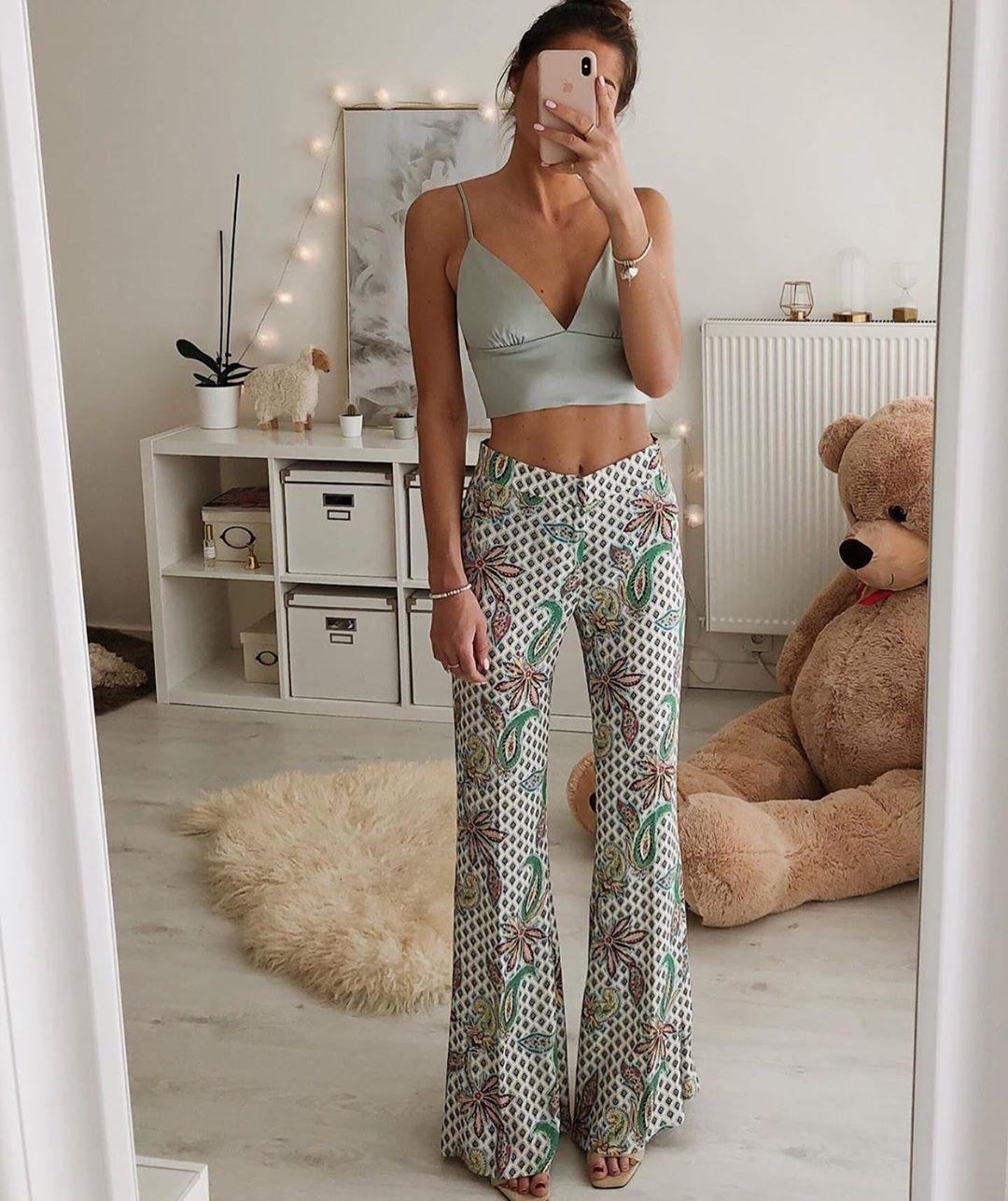printed flare pants de Zara sur zaraaddiction