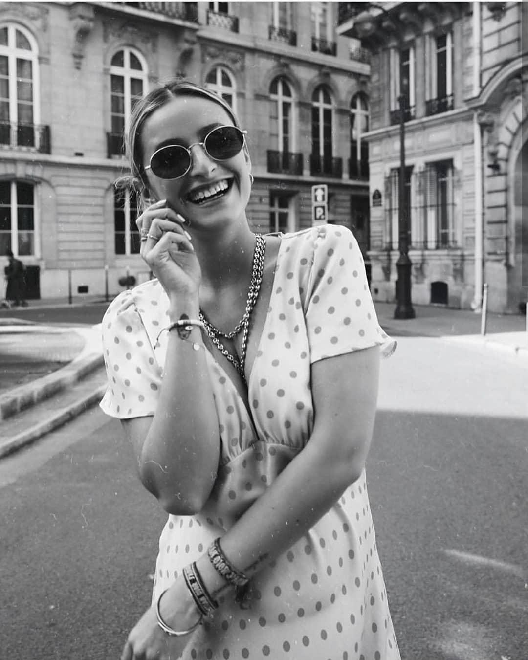 polka dots long dress de Zara sur manon_compte_fan__