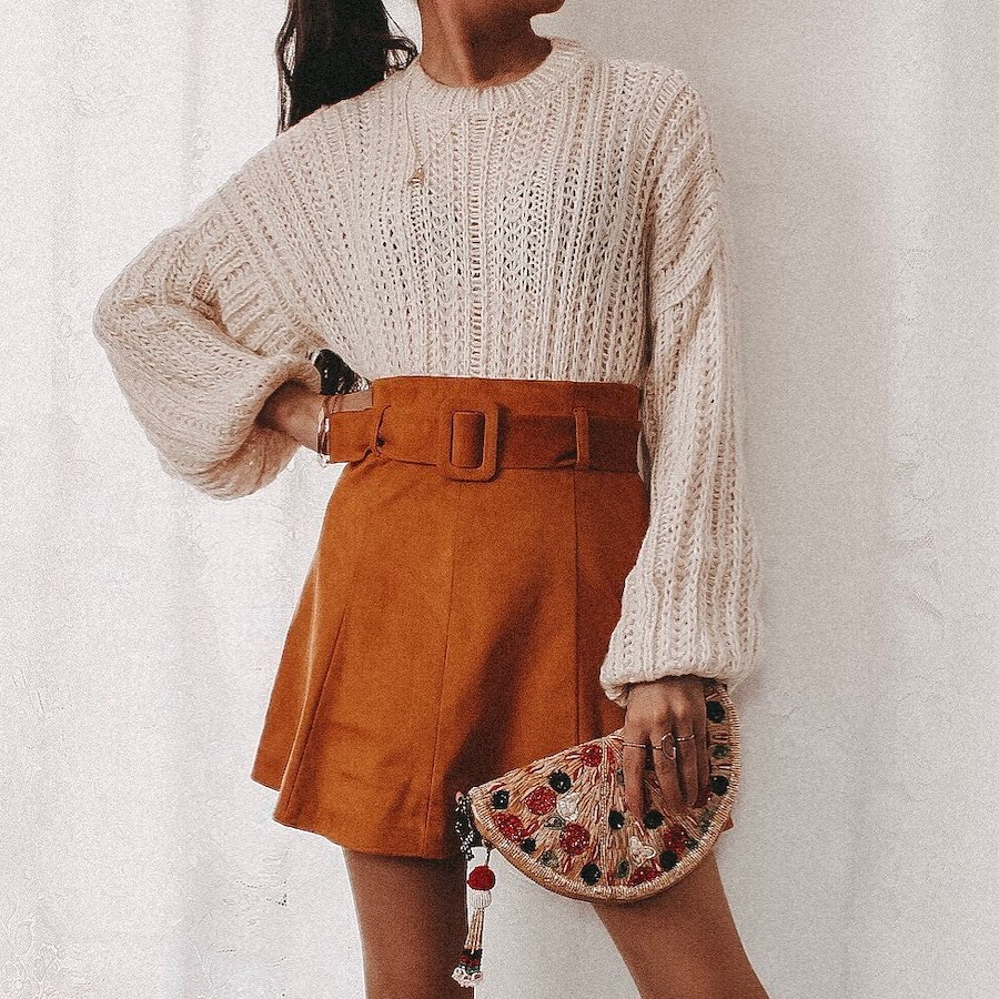 mini jupe effet daim de Zara sur alexisbellevue