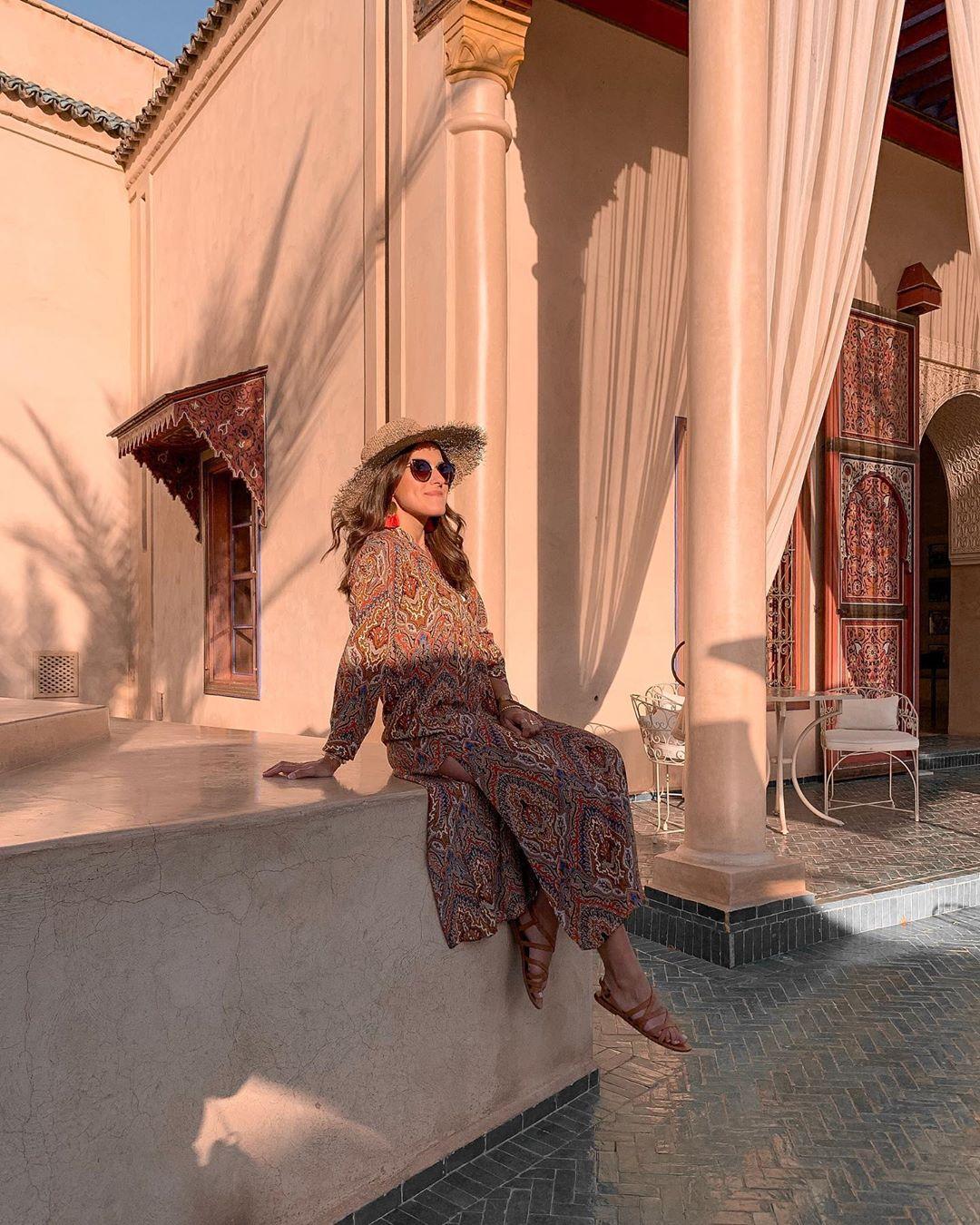 printed flowing dress de Zara sur lesbonheursdecamille