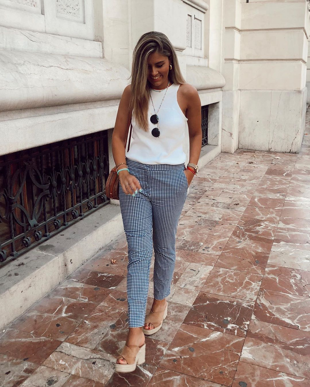 gingham plaid pants de Zara sur mariamartinloz
