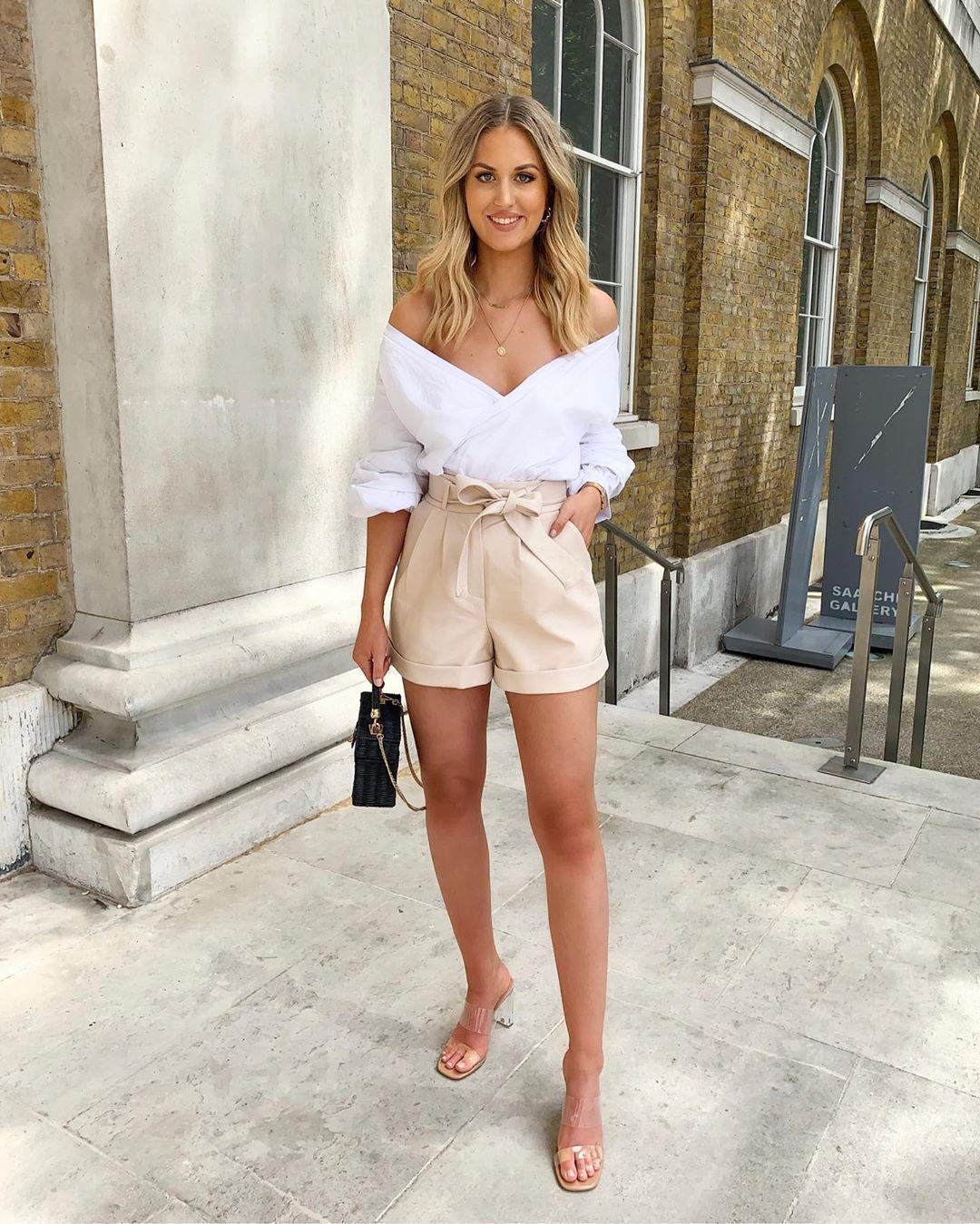 beige bow shorts de Les Bourgeoises sur katherine_bondd
