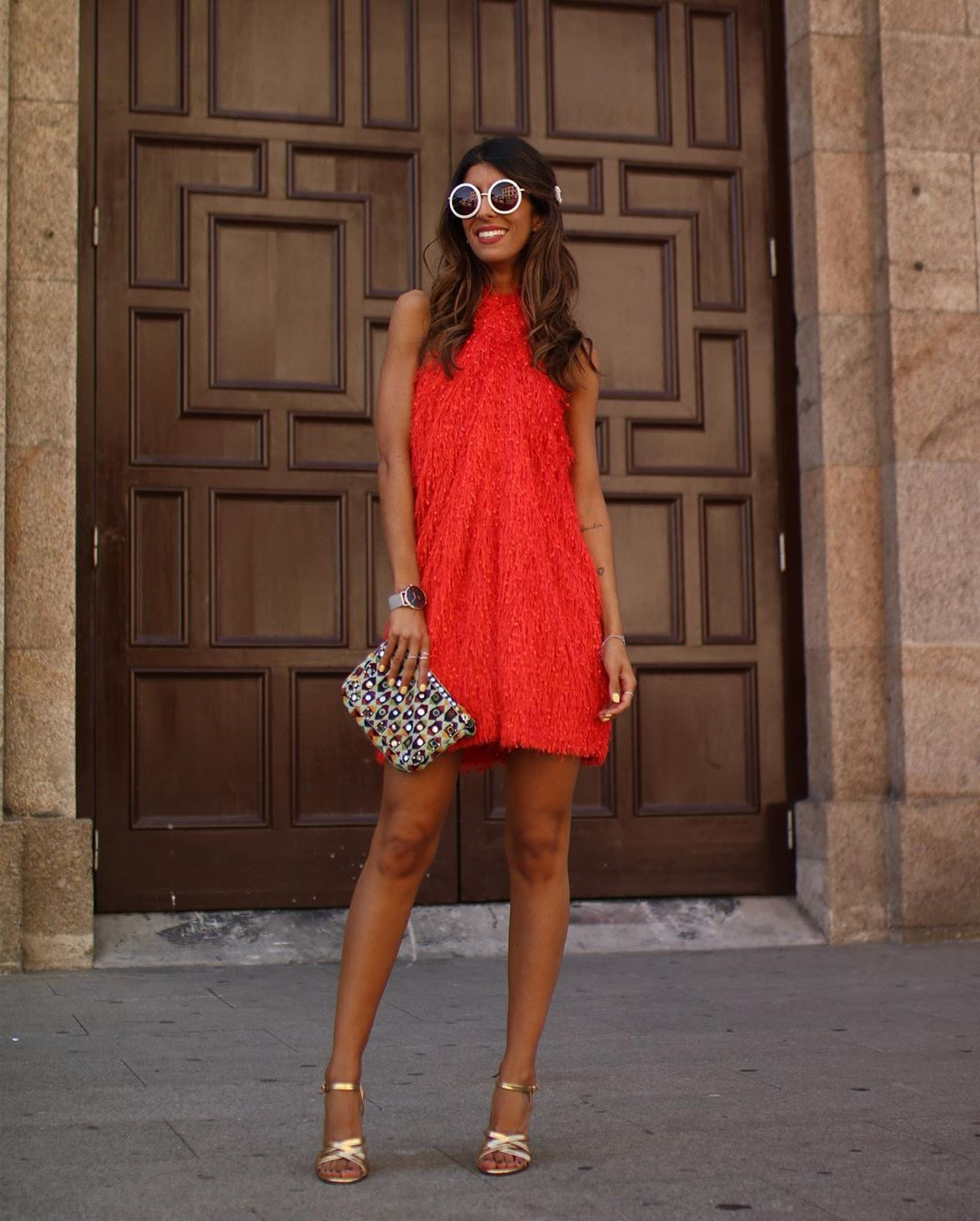 fringed american neckline dress de Zara sur maarttaan