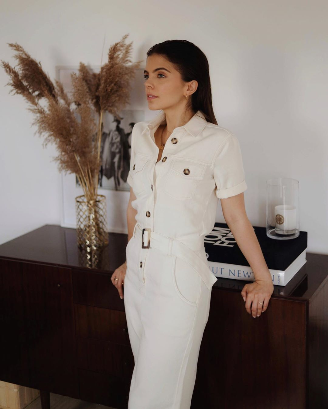cotton jumpsuit with stitching and belt de Massimo Dutti sur freakery