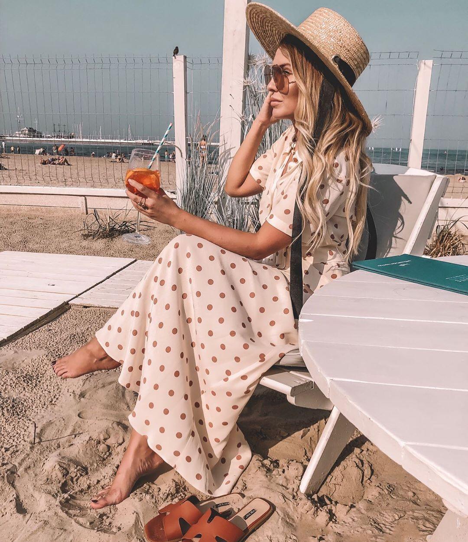 polka dots long dress de Zara sur mirabelove