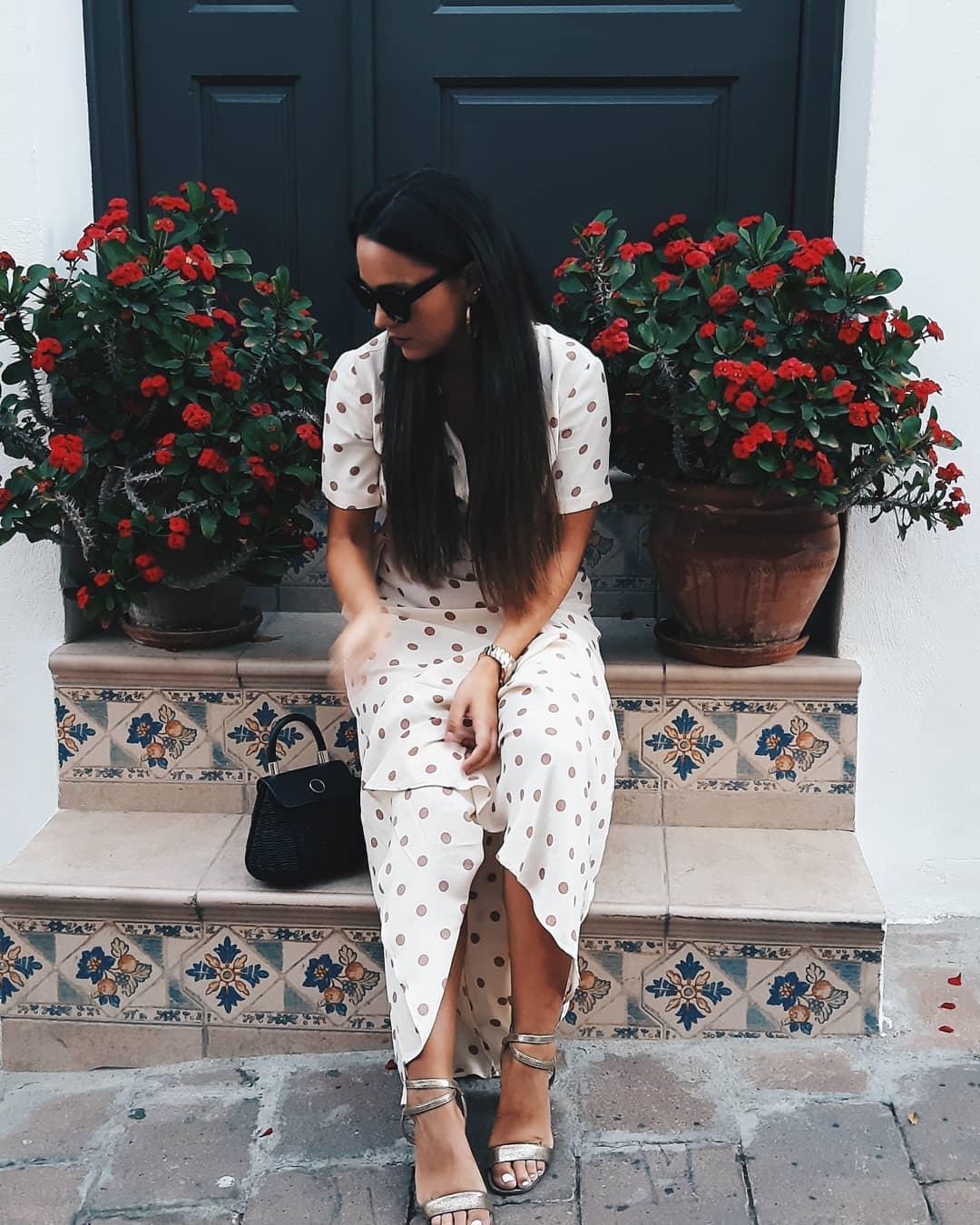 polka dots long dress de Zara sur mariamolina.7