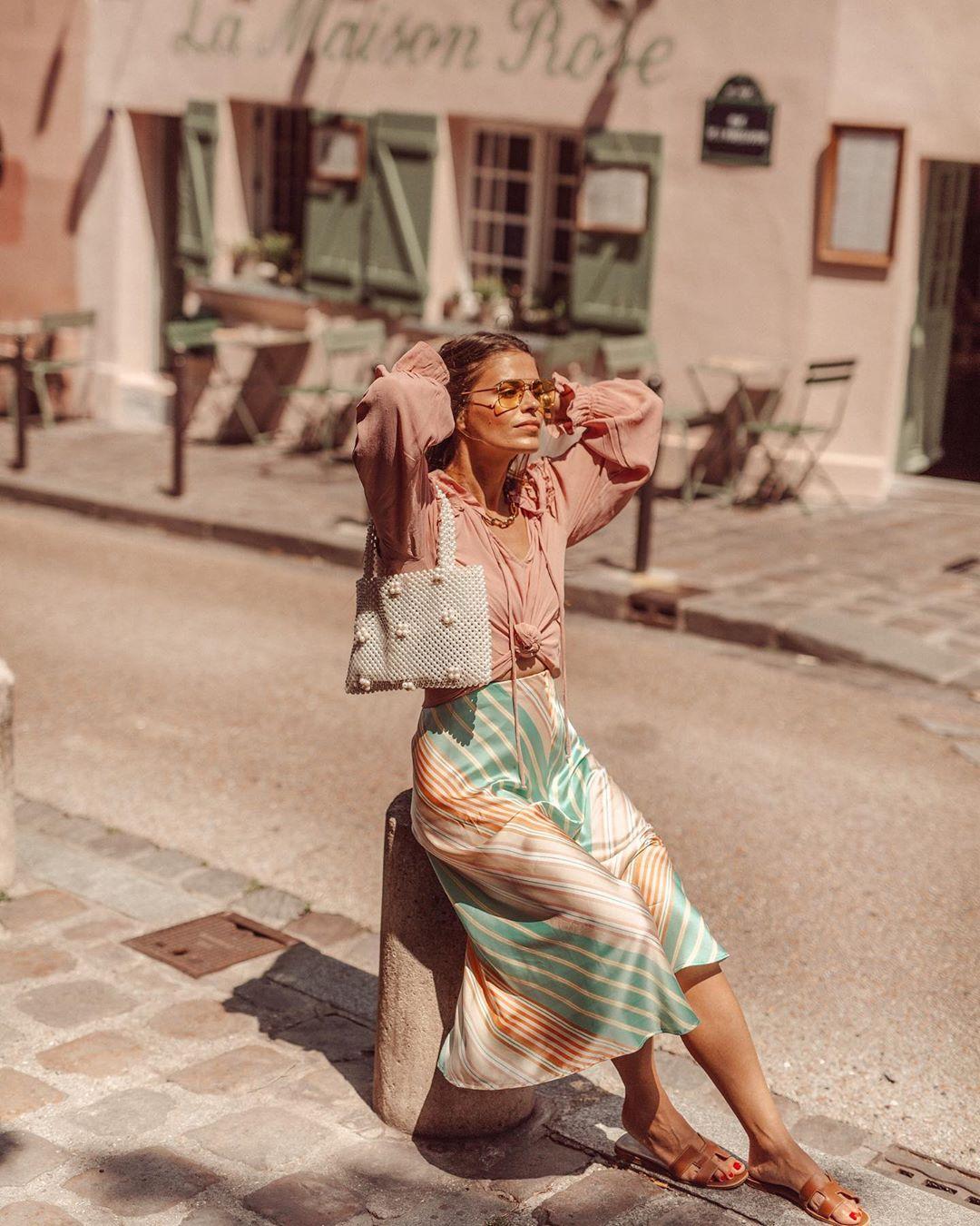 striped satin skirt de Zara sur jessiekass