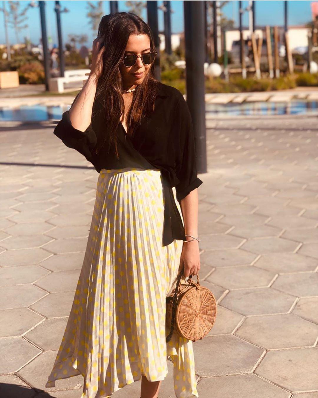 jupe plissée à pois de Zara sur zara.outfits