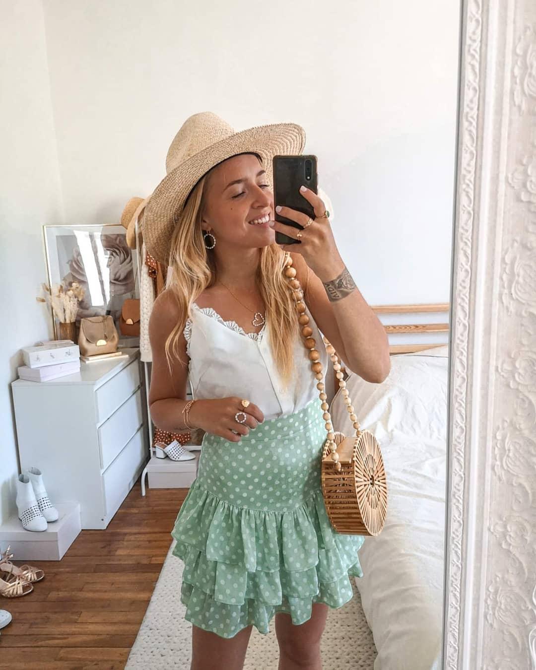 jupe-short en jacquard à pois de Zara sur ines_rcdd