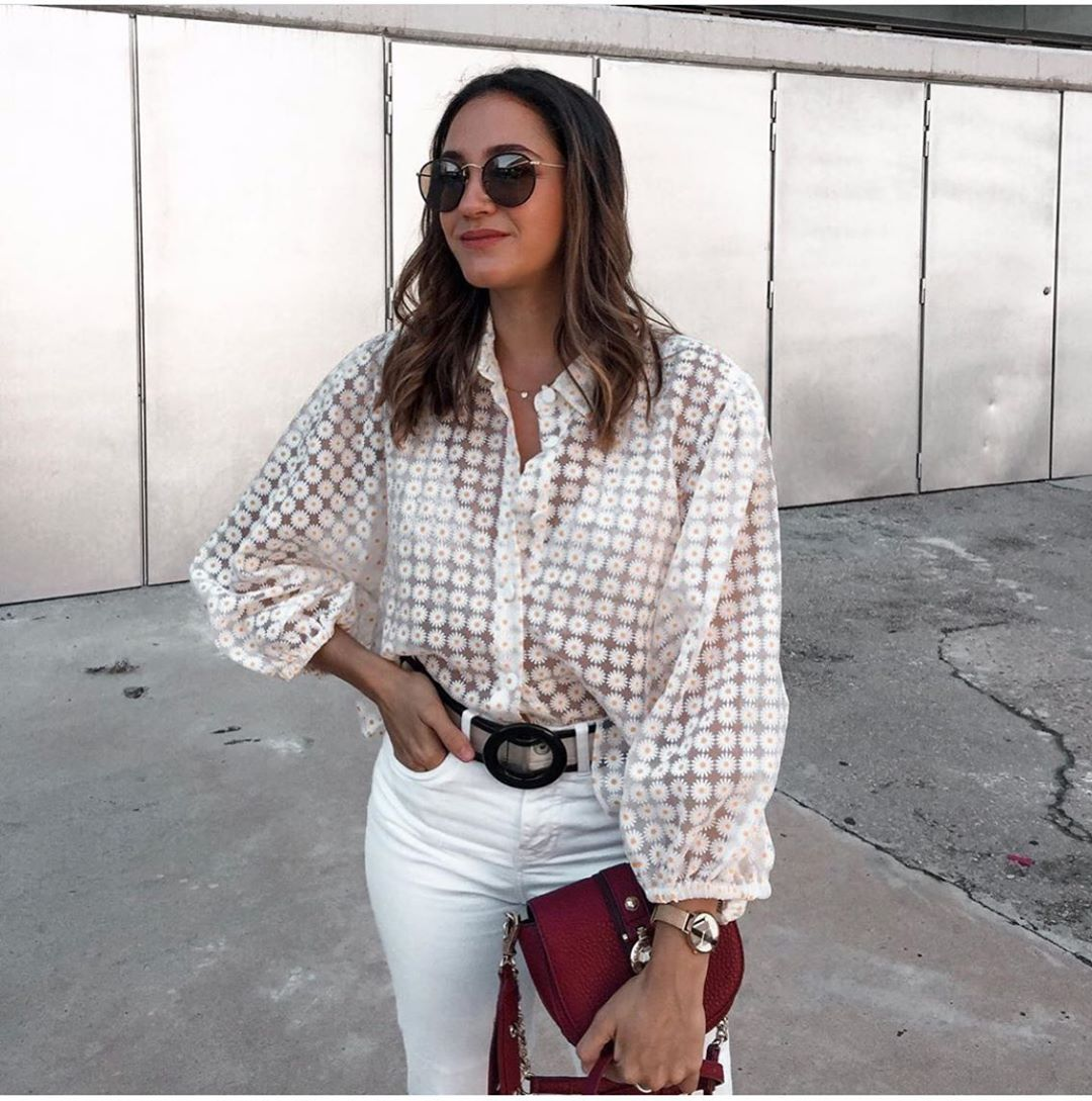 blouse en organza à fleurs de Zara sur zara.outfits