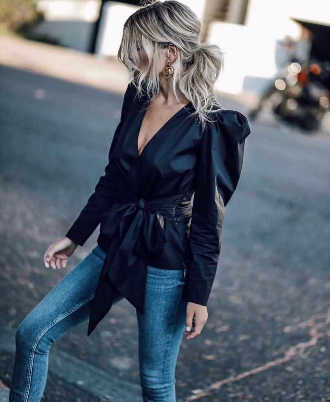 blouse en popeline avec noeud de Zara sur zara.outfits