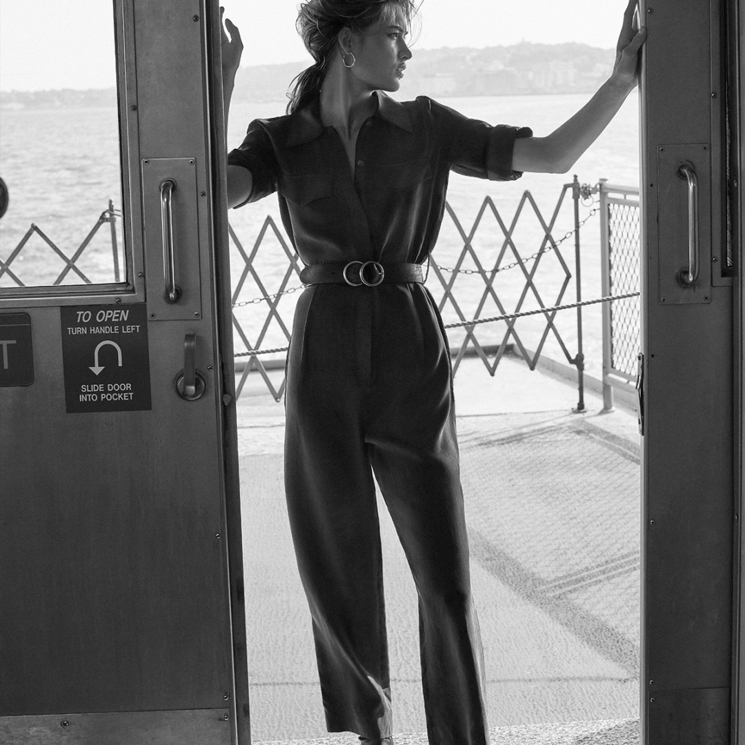 jumpsuit with pockets and belt in pure lyocell de Massimo Dutti sur massimodutti