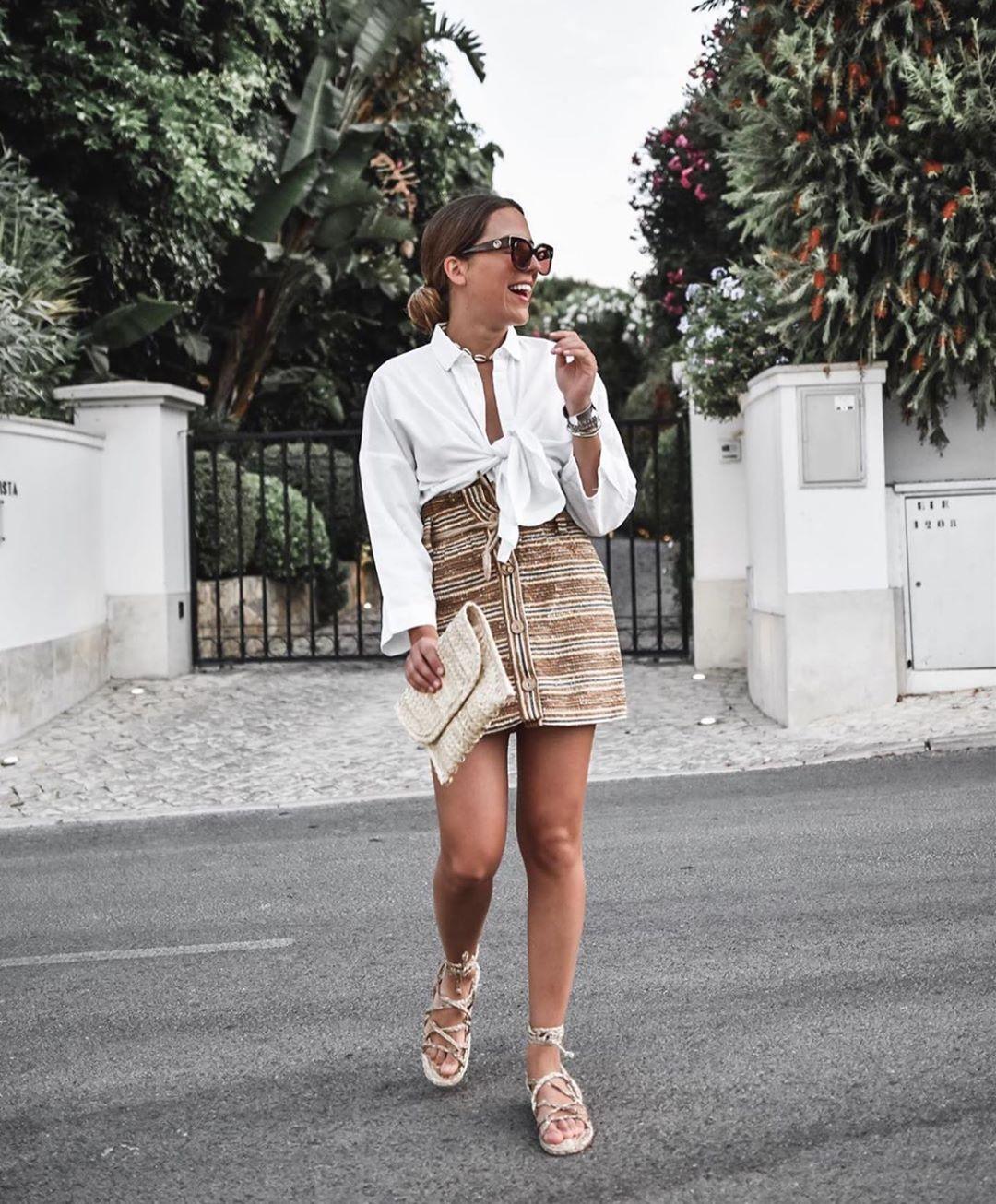 jupe rustique à rayures avec ceinture de Zara sur zara.outfits