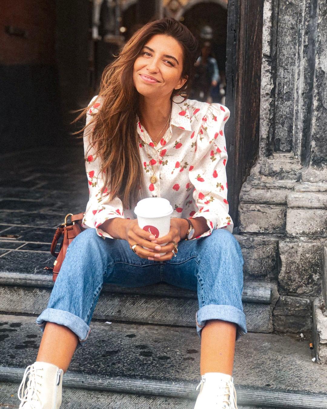 blouse with floral print de Zara sur roseandmusc