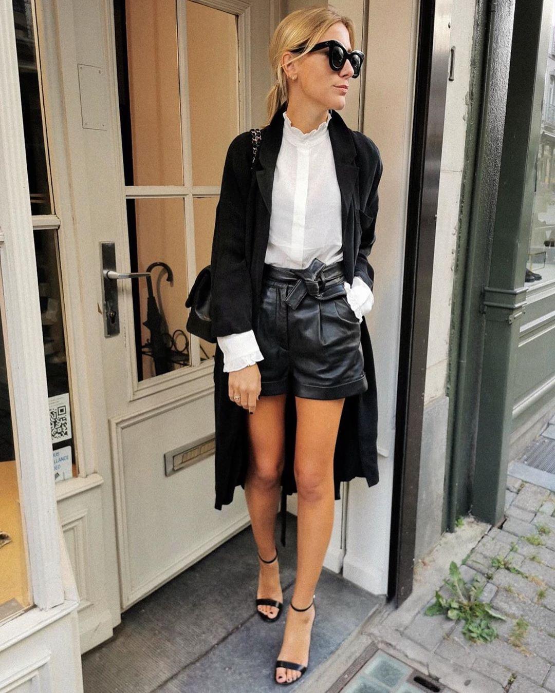 leather effect shorts de Zara sur floackermans