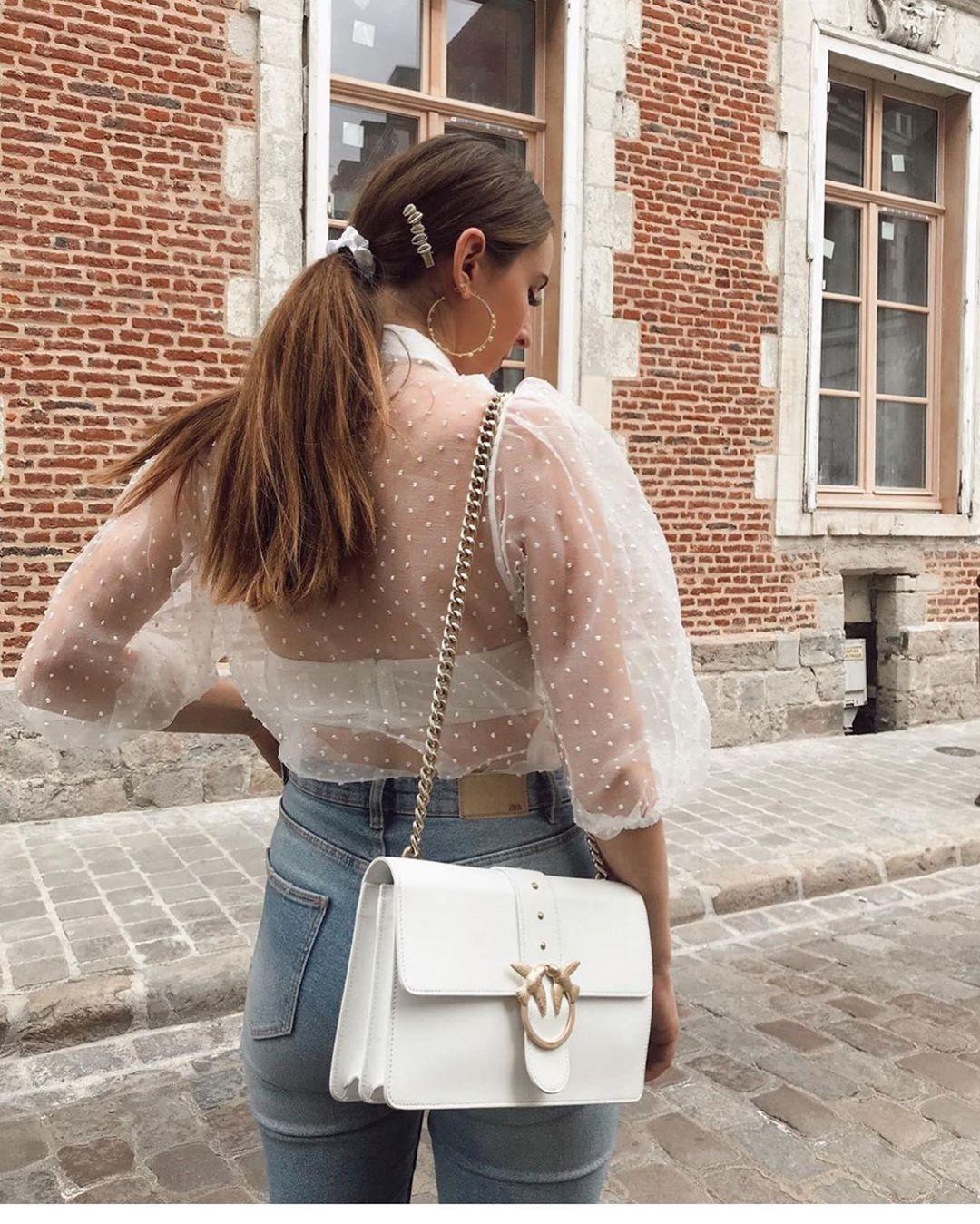 blouse en organza avec manches à volume de Zara sur zara.outfits