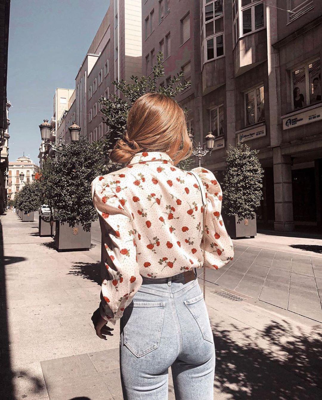 blouse à imprimé floral de Zara sur zara.outfits
