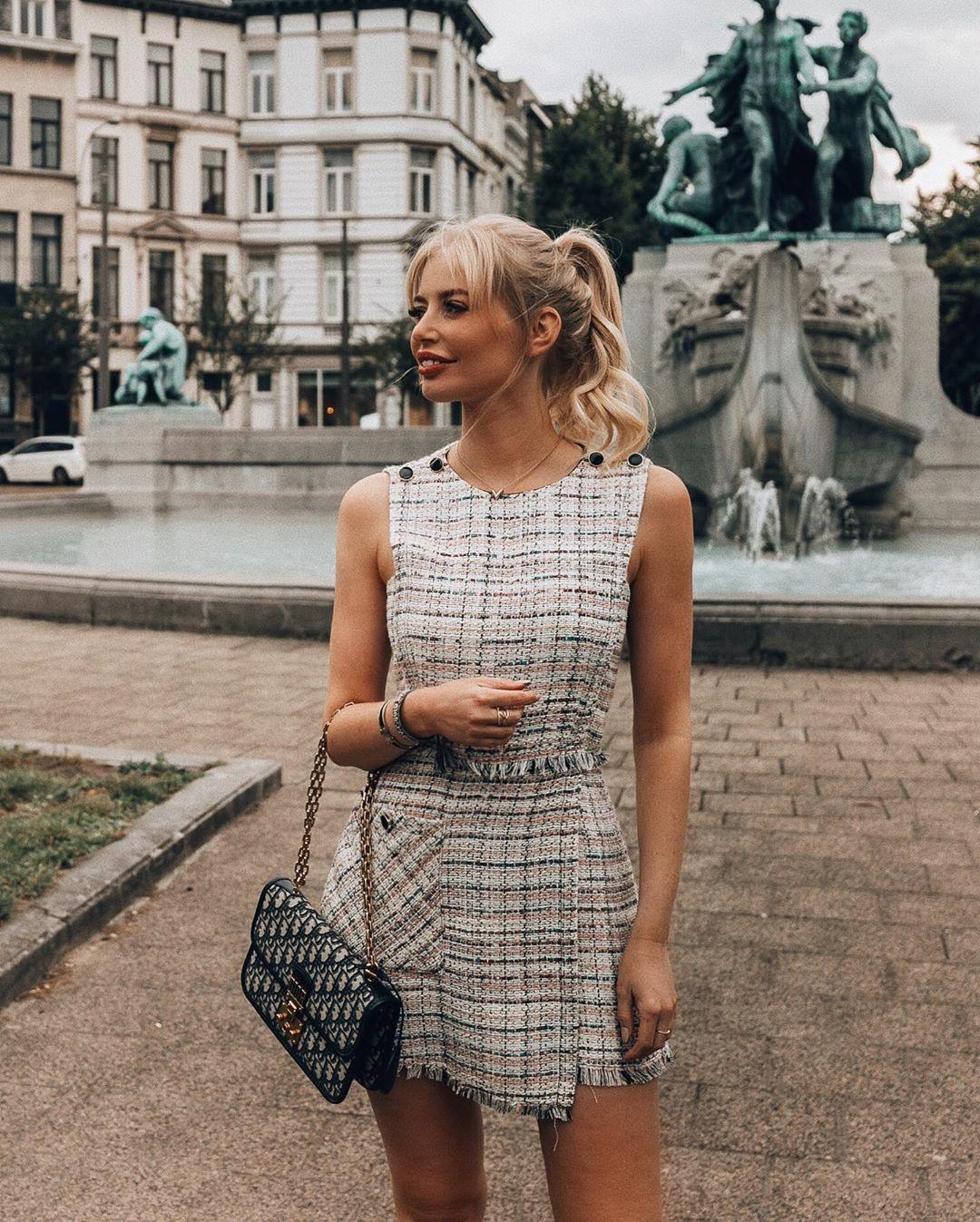combinaison en tweed à boutons de Zara sur annabelpesant