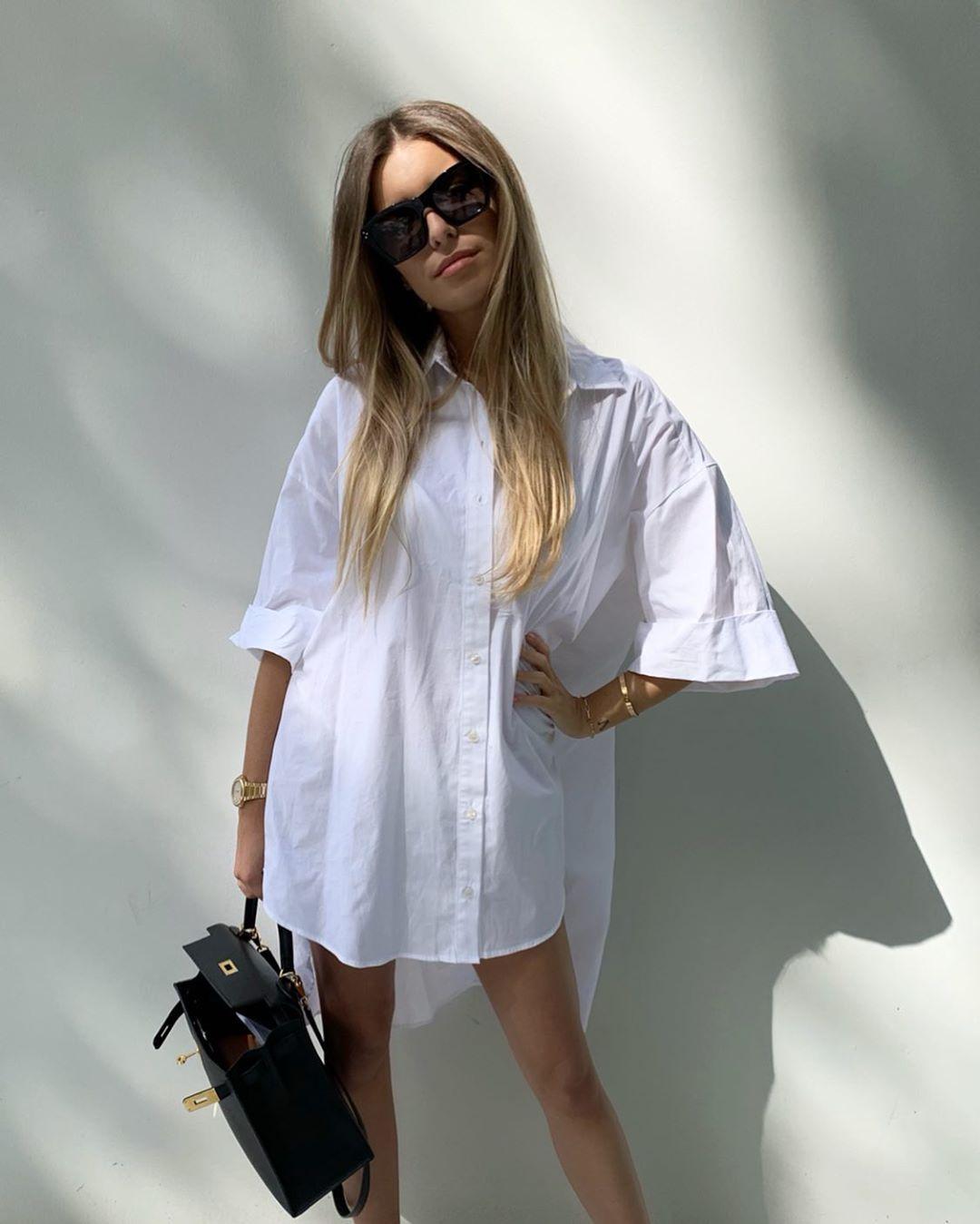 oversized poplin shirt de Zara sur florenceolette