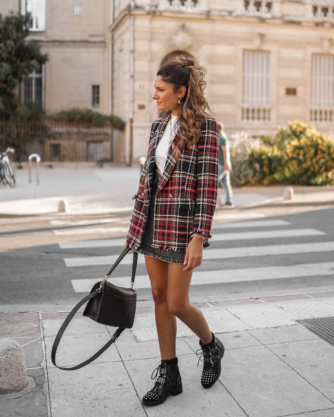 veste à boutonnage croisé à carreaux de Zara sur junesixtyfive